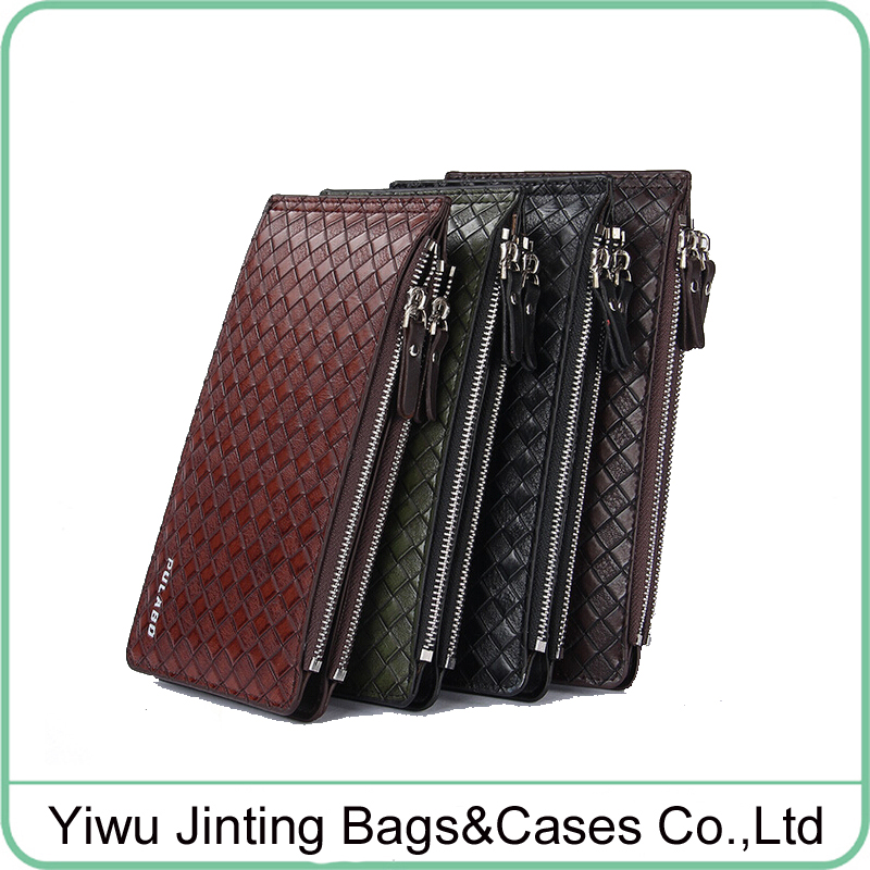 4 colors 2016 fashion slim mens woven leather Card & ID Holders <strong>wallet</strong>