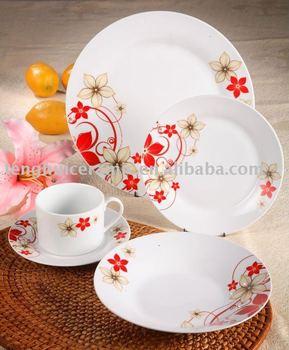 20pcs round porcelain dinnerware flower pattern ceramic tableware & 20pcs Round Porcelain Dinnerware Flower Pattern Ceramic Tableware ...