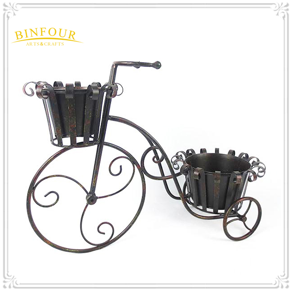 Garden supplier metal 2 pot tricycle plant holder