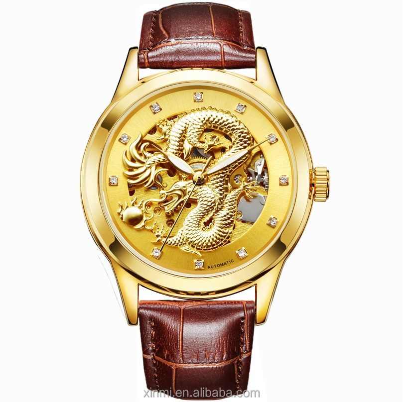 China Watch Factory Manufacture Fashion Men Watch, Gold Dragon Diamond Leather WristWatch, Any color are available