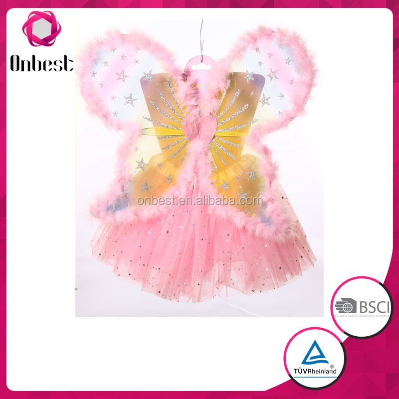SW1128 pink sexy girl tutu skirt with fluffy round fairy wings