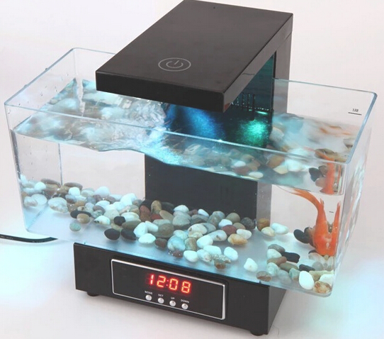UCHOME Multifunctionele LED USB Desktop Aquarium Mini aquaria Fish Tank met Touch LED tafellamp/Wekker/Tijd klok