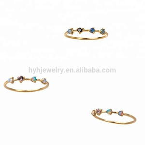 New best selling design colorful cz rings women custom gold opal ring fashion
