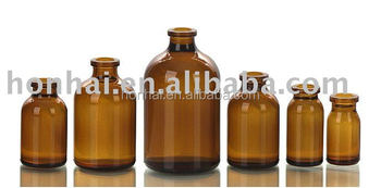 50-1000ml antibiotic amber molded glass injection bottle