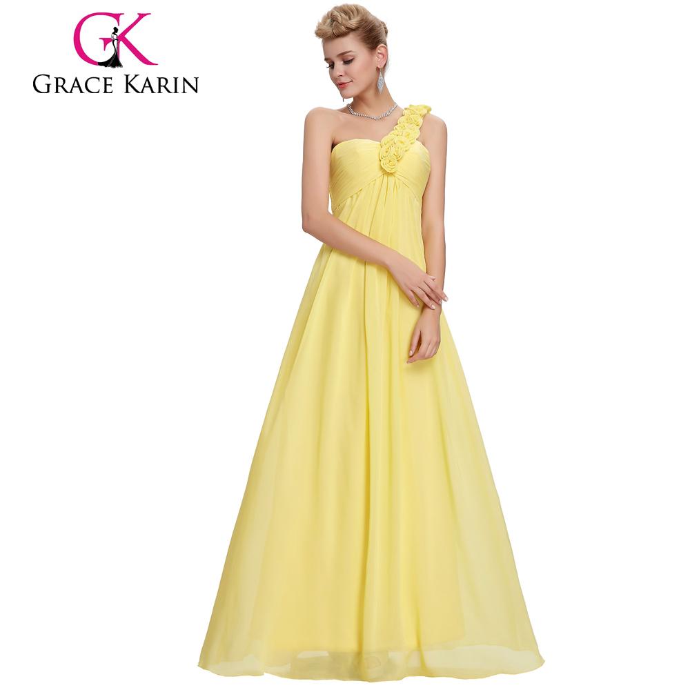 Grace Karin One Shoulder Flower Strap Yellow Long Chiffon Plus Size ...
