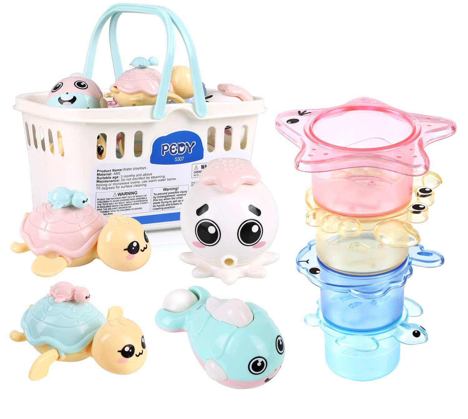 pedy 8PCS Baby Bath Toys Set, Fish Floating Toys BPA Free, Stackable Cups Spray Water Octopus Toy, Wind-Up Bath Turtle Bathtime Fun Toy for Toddler Infant Boys Girls (Pink)