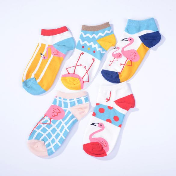 Korean fashion funny women cute animal flamingo cotton crew ankle socks, As picture shown