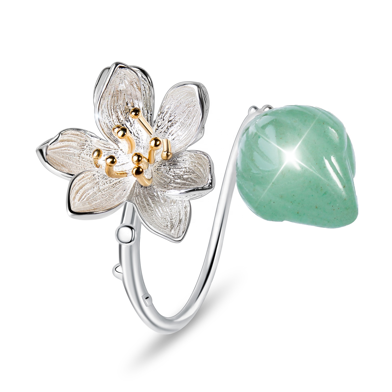 Design Custom Handmade women Fine Jewelry Supplies Natural Aventurine Stone Jade Finger Flower 925 Sterling Silver Gemstone <strong>Ring</strong>