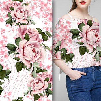 Custom fashion width 150cm digital printed flower woman shirt fabric