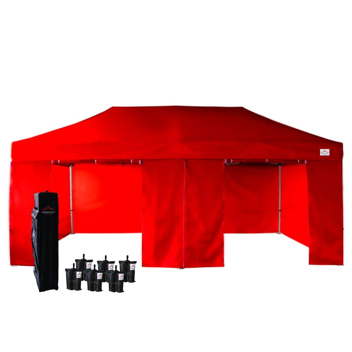 UNIQUECANOPY 500D Enhanced 10x20 Ez Pop up Canopy Portable Folded Commercial Canopy Car Shelter Wedding Party Show Tent with 4 Zippered Side Walls and Wheeled Carrying Bag Red