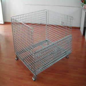 Heavy duty large foldable metal storage wire mesh container