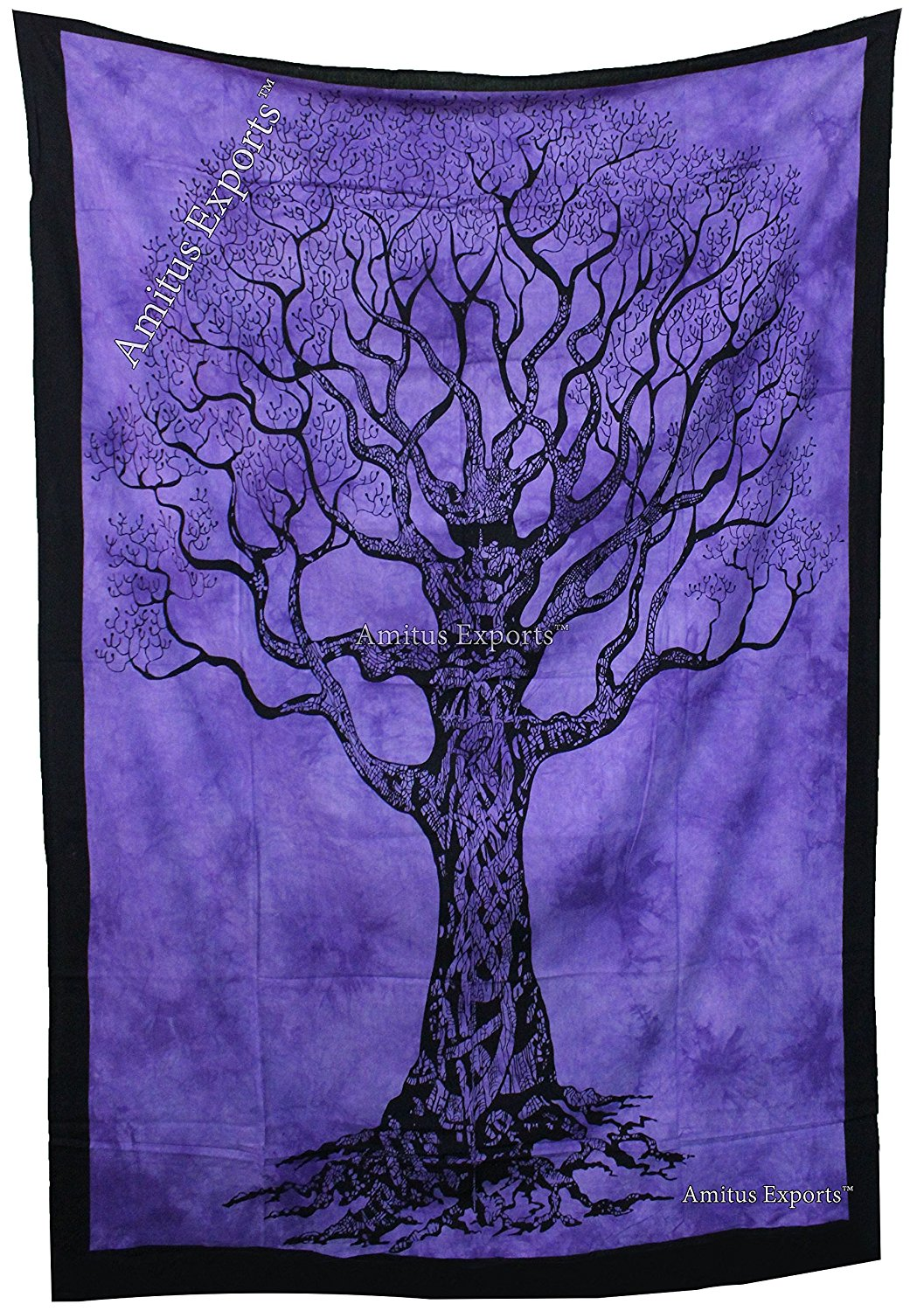 """Amitus Exports (TM) 1 X Tree of life 80""""X53"""" Approx. Inches Purple Color Cotton Fabric Multi-Purpose Handmade Tapestry Hippy Indian Mandala Throws Bohemian Tapestries"""