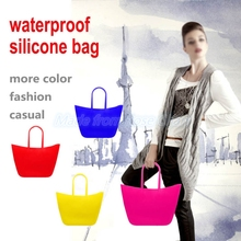 2016 Fashion Style Candy Color Ladies Silicone Waterproof Beach Bag Tote Bag , Handbag