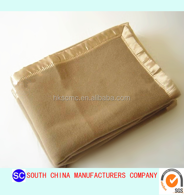 High quality single wool blend brush blanket for hotel/army