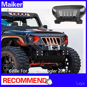 2016 new style car body kits bumper grille for jeep wrangler jk aceessories metal face buy. Black Bedroom Furniture Sets. Home Design Ideas