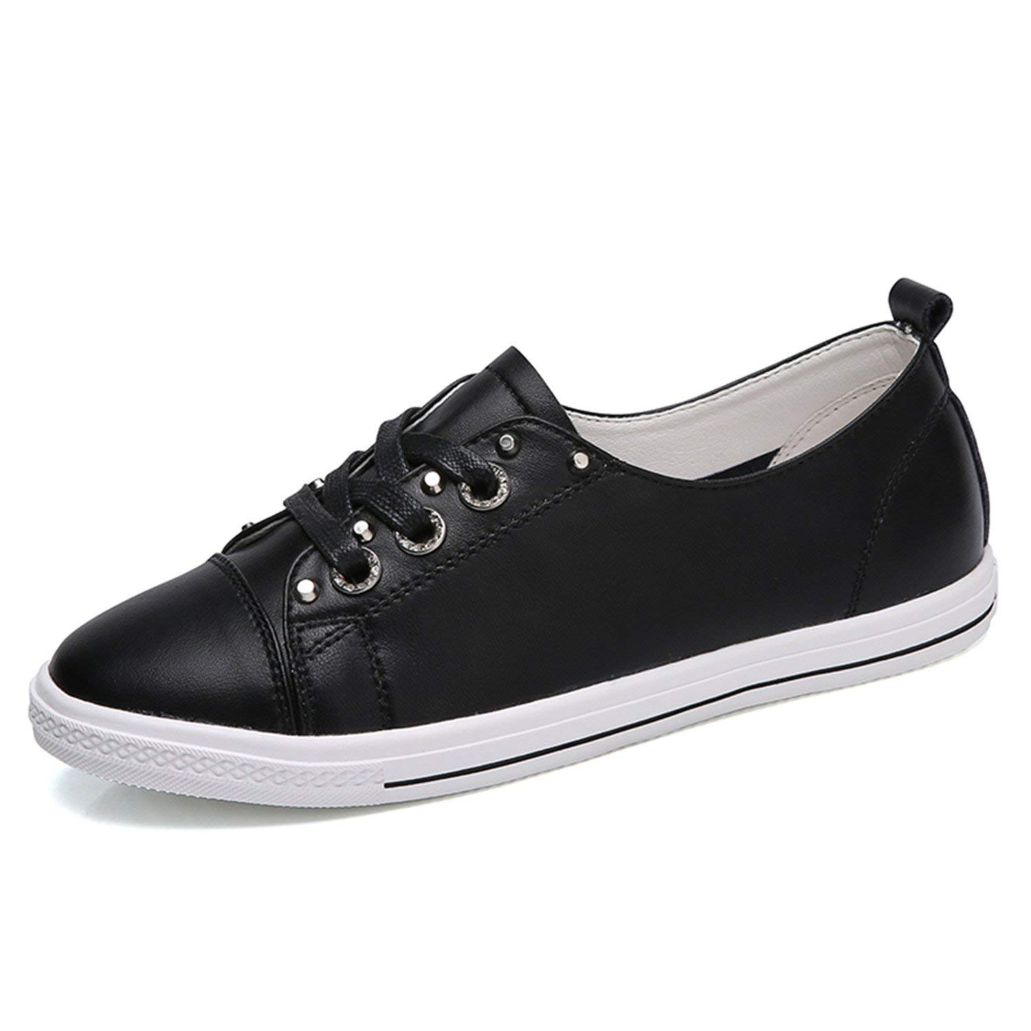 Get Quotations · Naomiky New Autumn Women Flats Shoes Lace Up Flat Casual  Shoes Solid Woman White Black Flat e05356d6b6e7