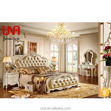 European style luxury latest model double size king bed design solid wood carved genuine leather furniture antique bedroom set