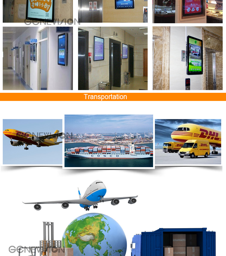 Autoplay 18.5'' elevator digital signage led advertising display battery powered digital signage built in 8G storage
