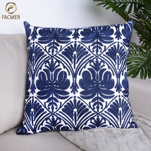 Customized Jacquard Ethnic blue flowers cushion cover indian Kantha throw pillow cover