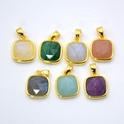 Natural Gemstone Small Square pendant Jewelry Making Supplies Charm Finding Supplies gold plated Bulk Gemstone Pendants