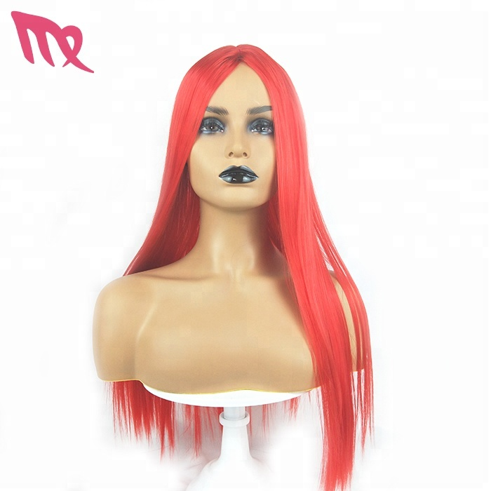 Wholesale Factory Stock 68cm Red Color Synthetic Hair Wig Cosplay For Woman