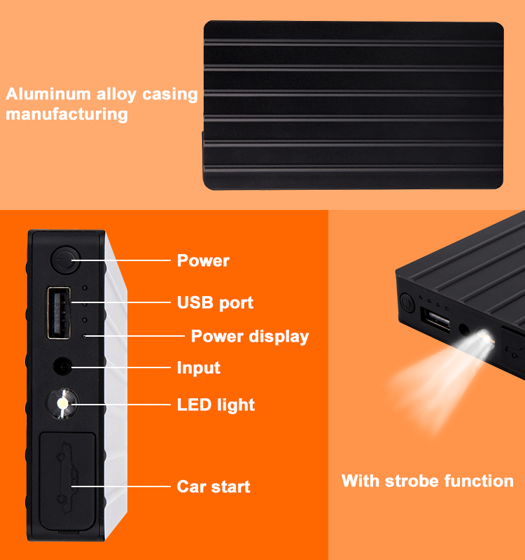 Aluminium alloy material design portable mobile power bank 12V diesel car jump starter