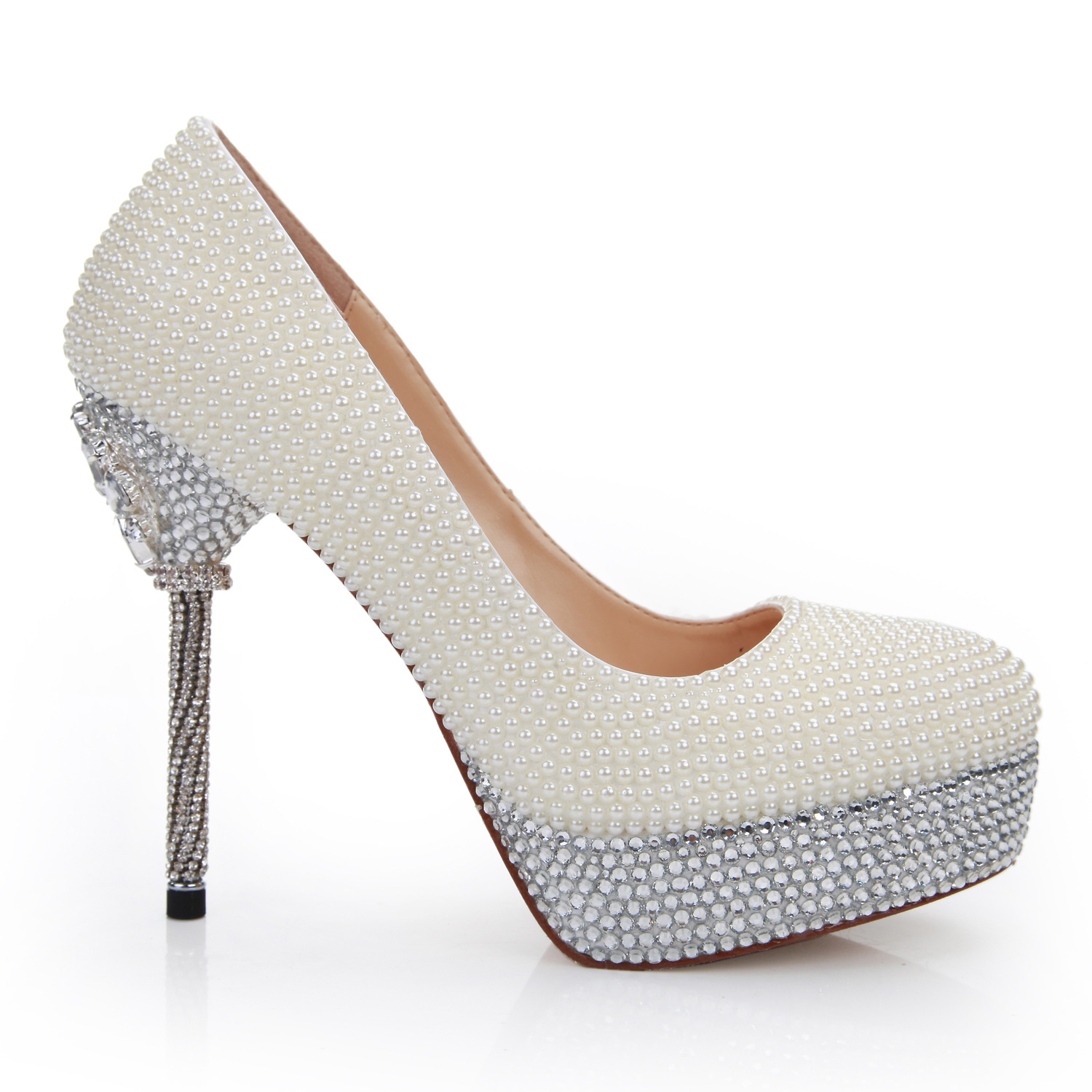 shoes with white pearl diamond bride wedding shoes waterproof shoes increased with a fine diamond wedding shoes