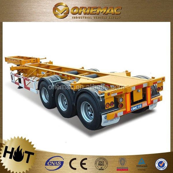 CIMC container trailer 40 feet 3 axles skeletal shipping container truck trailer , remote control truck trailer