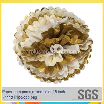 Mixed white with gold tissue paper flower pom pom buy metallic mixed white with gold tissue paper flower pom pom mightylinksfo