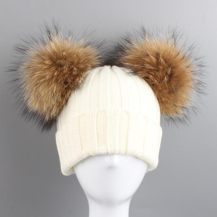 32fdd40d8d3300 Fashion Winter Children Knied Hat With 2 Plush Balls Fur Pompoms Keep Warm  Cap Boys Girls Beanie Hats XRQ88. Description: