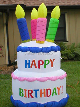 Happy Birthday Inflatable Cake Giant Decoration