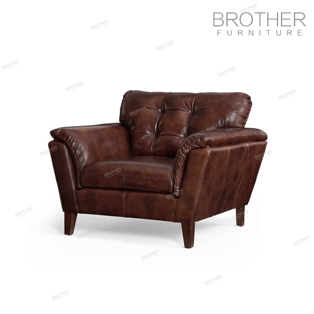 Upholstery Furniture Accent Chair Sofa Set Classic Wood Frame Leather Sofa  With Armrest