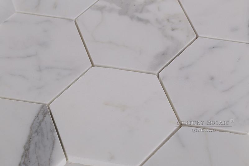 "4"" zeskant clacatta wit marmer wandtegels badkamer keuken kichen ..."