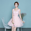 Beautiful Flowers Applique Bridesmaid Robes V-neck Mini Short A Line Frock Pleated Pink Bridesmaid Dress
