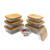 high borosilicate glass Kitchen storage box set with Natural bamboo lid