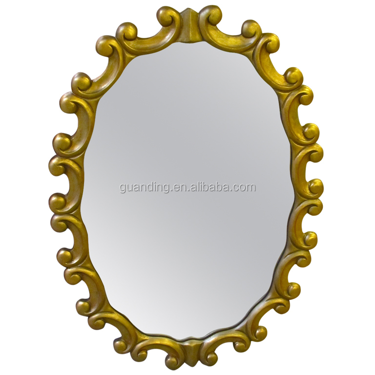 Modern wood frame wall mirror Hotel Round Mirror in gold finish
