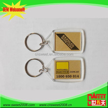 OEM personalizado Plástico Promocional keychain <span class=keywords><strong>Acrílico</strong></span> <span class=keywords><strong>branco</strong></span>/imagem PS foto chaveiro/keyring