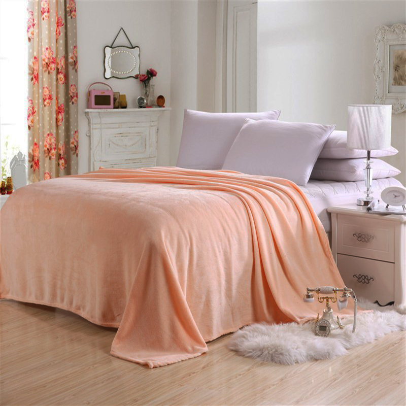 Super Soft Plaid Solid Color Flannel Coral Fleece Blanket
