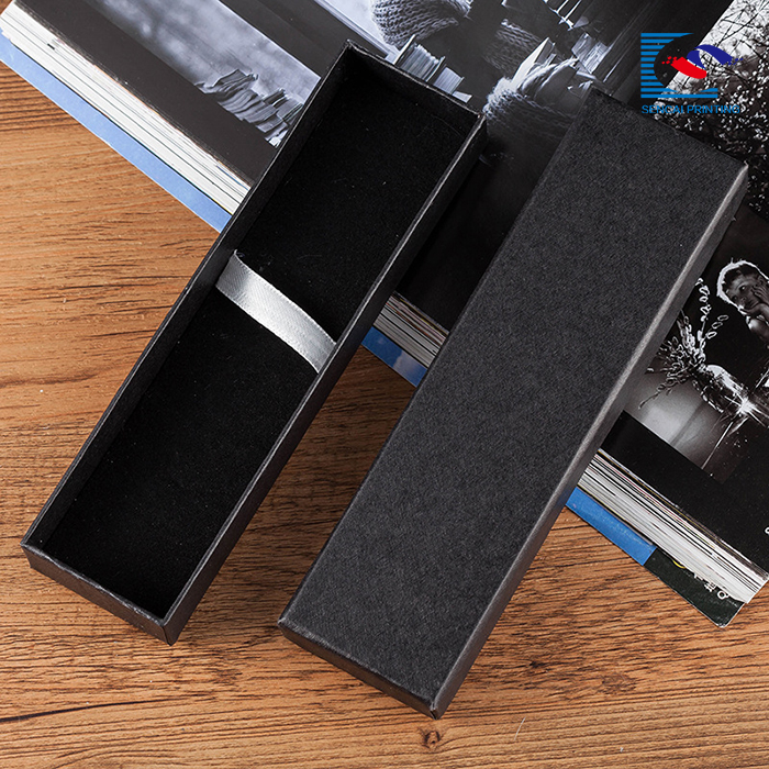 luxury black paper packaging drawer box for fountain pen