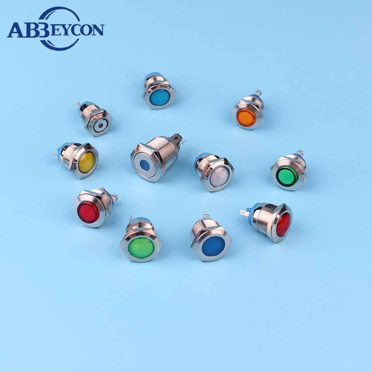 12mm 230v copper plated chrome waterproof 12v mini led metal alarm indicator lights