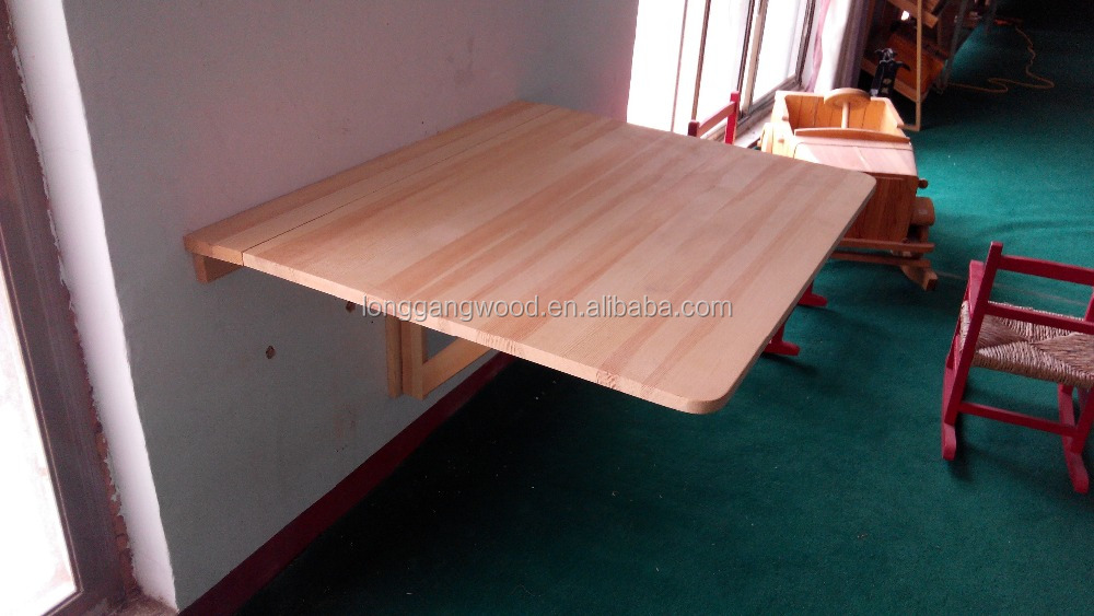 Awesome Fold Down Wall Table, Fold Down Round Table, Wood Wall Folding Table