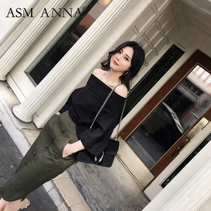 ASM ANNA 2018 wide neck bare shoulder and lapel profile sleeve blouse the famous style lady's black blouse