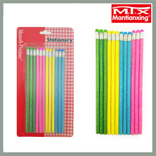 MTX 12 pcs 4 color blister pack round colouring colored glittering cautery pencil