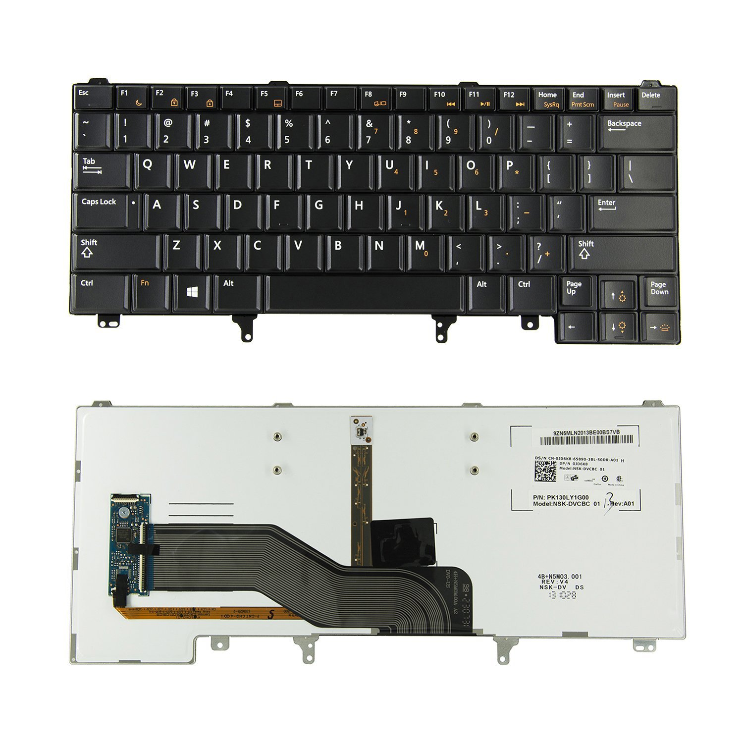 New Relacement US Backlit Keyboard for DELL Latitude E6320 E6330 E6420 E6430 E6440 E5420 E5430 Series Laptop, without Mouse Stick Pointer, 0JD6K8 024P9J NSK-DVCBC PK130LY1G00
