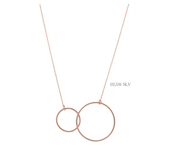 Promotion !Gold plated interlocking double circles necklace <strong>silver</strong> 925 by Moyu
