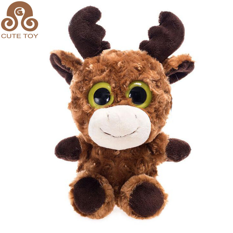 Sitting Deer giraffe plush soft stuffed toy with antlers