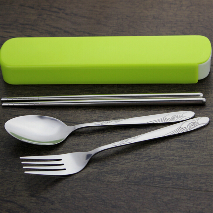 OEM Logo promotion gift 3 pcs Portable Stainless Steel Flatware Cutlery Set with Storage Organizer Holder
