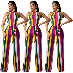 2019 New Arrivals Summer Fashion Women Off Shoulder Sleeveless Belt Wide Leg Pants Colorful Strip Patchwork Printed Jumpsuit