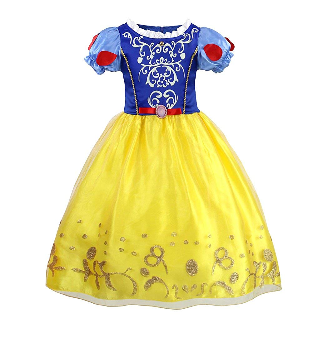 095522e5e42d Get Quotations · Bestfive Girls Puff Sleeve Dress up Costume Snow White Princess  Dress Age 3-12 Years