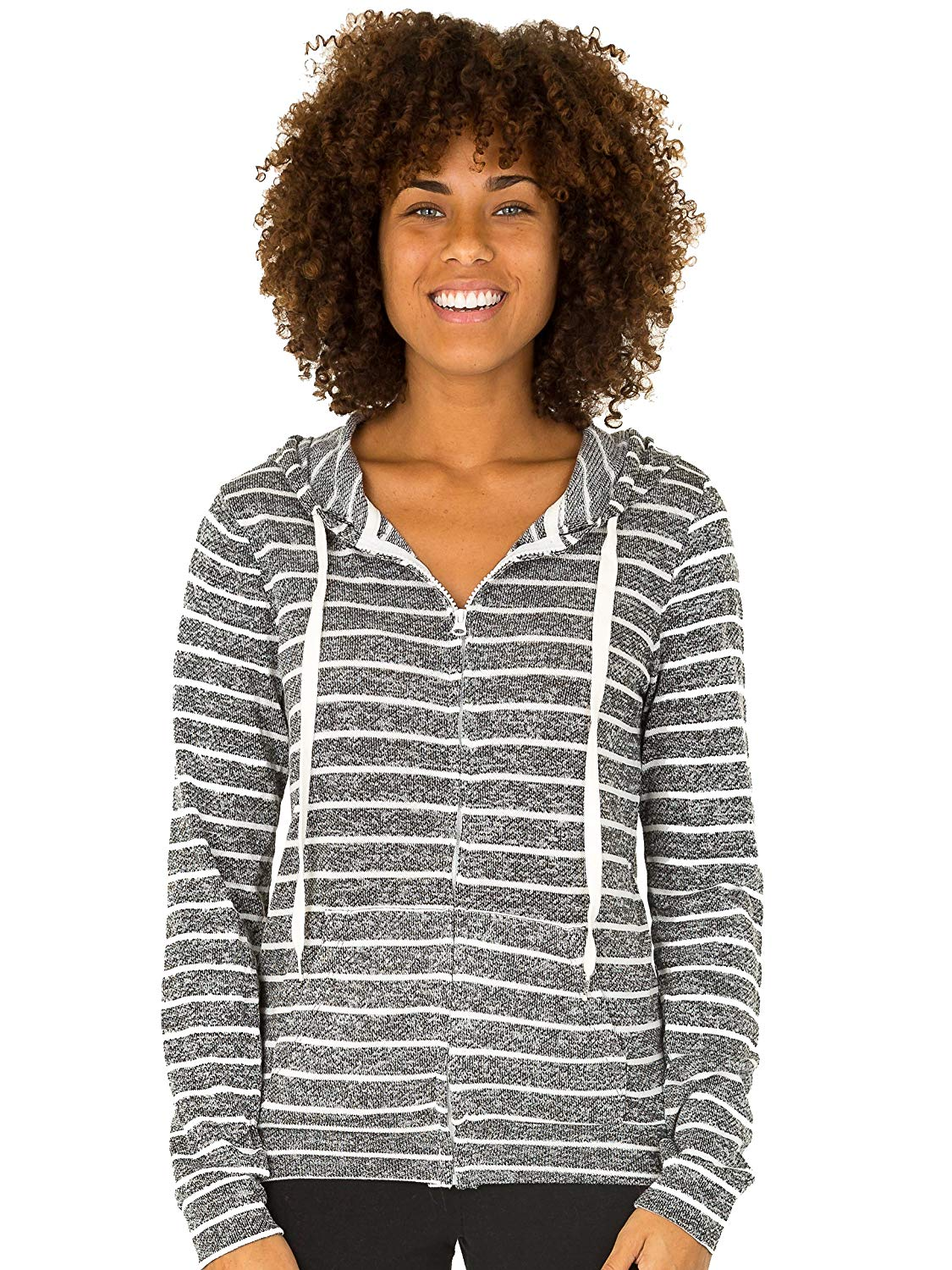190247962df08 Get Quotations · UZZI SUZZI Womens French Terry Striped Full Zip Hoodie